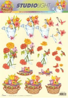 Feuille 3D à découper A4 Fleurs Roses Tulipes