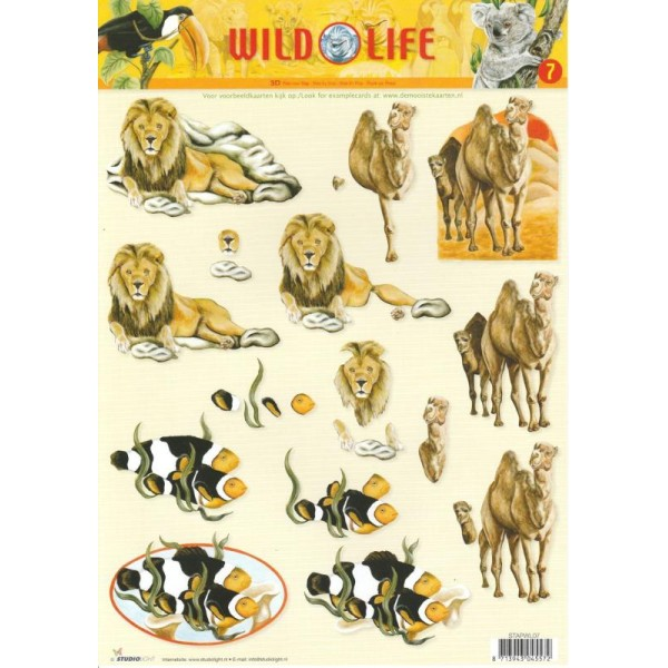 Feuille 3D à découper A4 Lion Chameau Poisson - Photo n°1