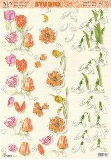 Feuille 3D à découper A4 Fleurs Tulipe Crocus Narcisse