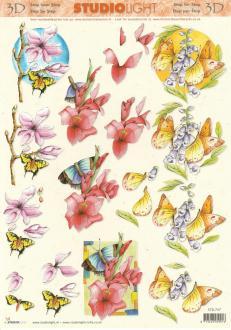 Feuille 3D à découper A4 Fleurs Papillon