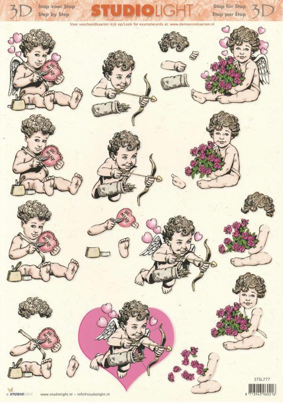Feuille 3D à découper A4 Ange Cupidon - Photo n°1