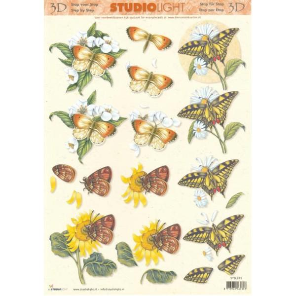 Feuille 3D à découper A4 Fleurs Papillon - Photo n°1
