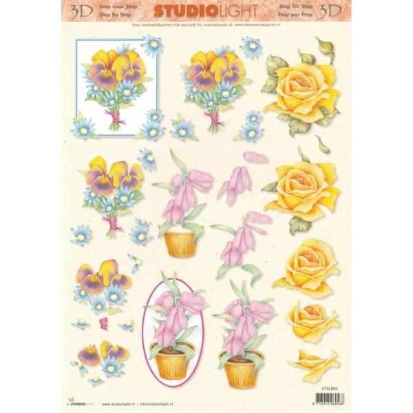 Feuille 3D à découper A4 Fleurs Pensées Roses - Photo n°1