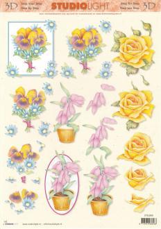 Feuille 3D à découper A4 Fleurs Pensées Roses