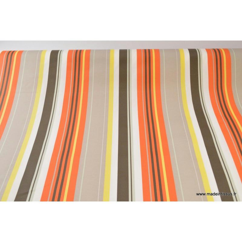 tissu enduit rayure bayad re orange x 1m nappes creavea. Black Bedroom Furniture Sets. Home Design Ideas