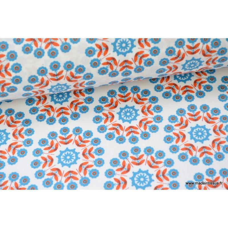 nappe rosaces rouge et bleue coton enduit x50cm nappes creavea. Black Bedroom Furniture Sets. Home Design Ideas