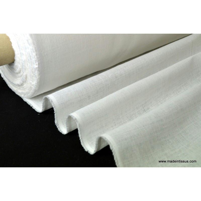 tissu toile de lin naturel blanc x 1m tissu uni creavea. Black Bedroom Furniture Sets. Home Design Ideas