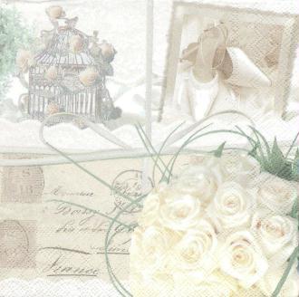 4 Serviettes en papier Souvenirs Mariage Format Lunch