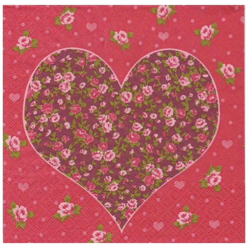 Ambiance Serviettes Heart Red 20 Pièce Rouge Coeur Blanc 3 plis 33x33 cm papier