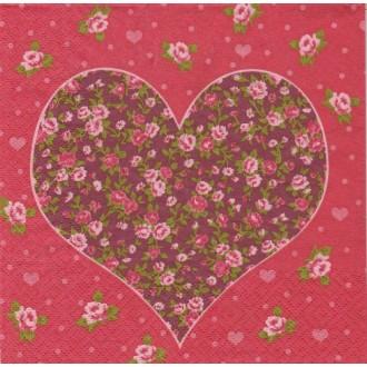 4 Serviettes en papier Amour Coeur Liberty Format Lunch
