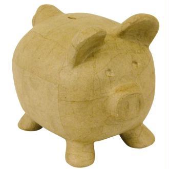 Tirelire cochon en papier mâché 26 cm