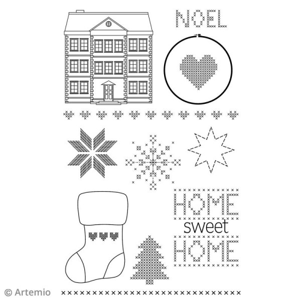 Tampon clear Artemio - Noël Home sweet Home - 11 pcs - Photo n°2