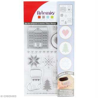 Tampon clear Artemio - Noël Home sweet Home - 11 pcs