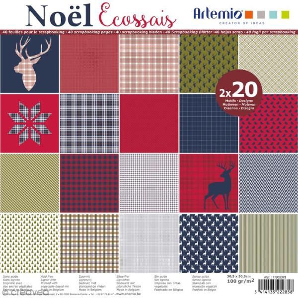 Papier Scrapbooking Artemio - Noël Ecossais - 30,5 x 30,5 cm - 40 feuilles - Photo n°1