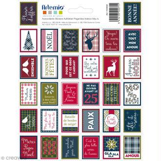 Stickers timbres décoratifs - Noël Ecossais - 3,3 x 2,7 cm - 64 pcs