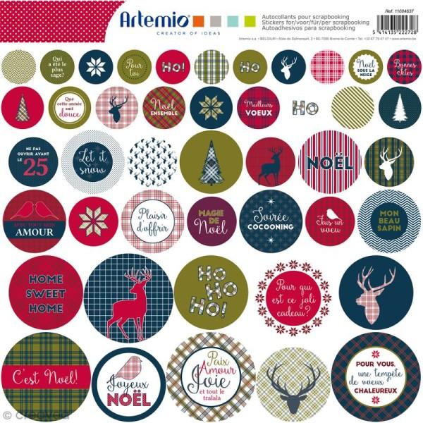 Stickers Artemio ronds - Noël Ecossais - 1 planche 30,5 x 30,5 cm - Photo n°1