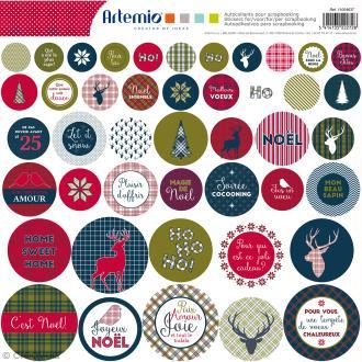 Stickers Artemio ronds - Noël Ecossais - 1 planche 30,5 x 30,5 cm