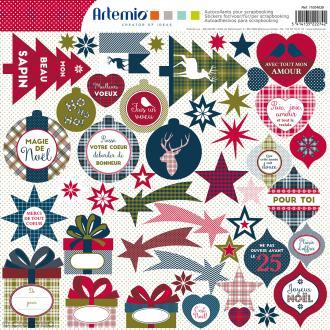 Stickers Artemio - Noël Ecossais - 1 planche 30,5 x 30,5 cm