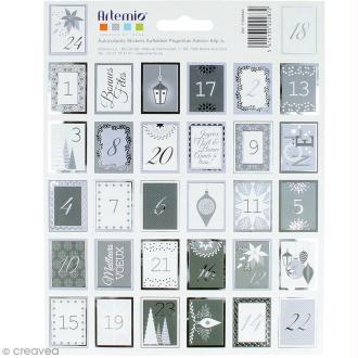 Stickers timbres décoratifs - Noël Perle Avent - 3,3 x 2,7 cm - 64 pcs