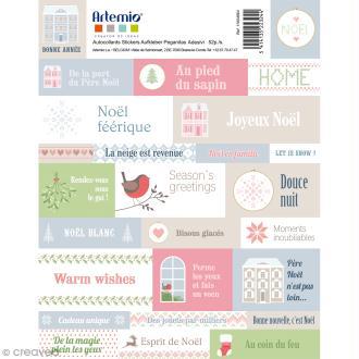 Stickers Artemio textes - Noël Home sweet Home - 1 planche 30,5 x 30,5 cm