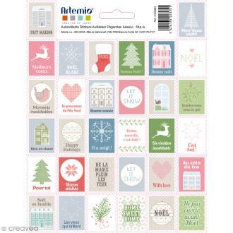 Stickers timbres décoratifs - Noël Home sweet Home - 3,3 x 2,7 cm - 64 pcs