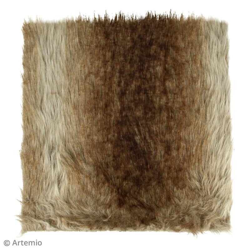 Fausse fourrure 29 x 29 cm - Grise - Photo n°2