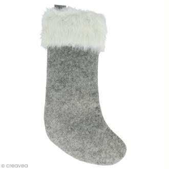 Chaussette Noël en feutre Gris et fausse fourrure - 35 x 20 cm