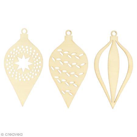 Forme en bois a decorer noel perle boules de noel 12 cm 3 pcs - Boule de noel plastique a decorer ...