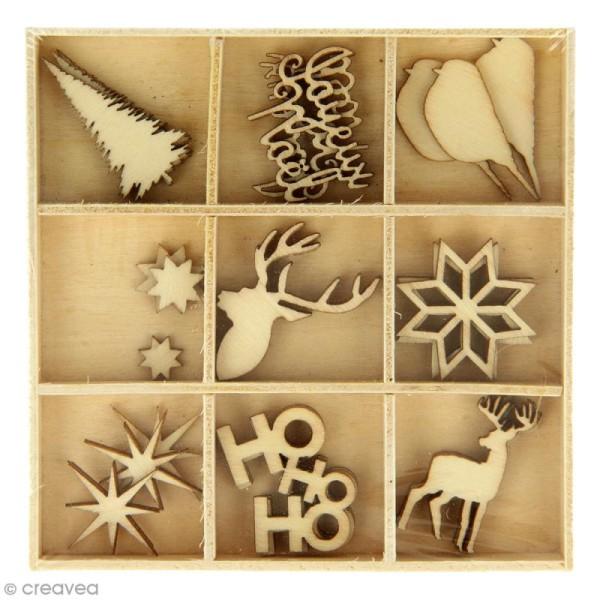Set de mini silhouettes en bois - Noël Ecossais - 33 pcs - Photo n°1