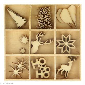 Set de mini silhouettes en bois - Noël Ecossais - 33 pcs