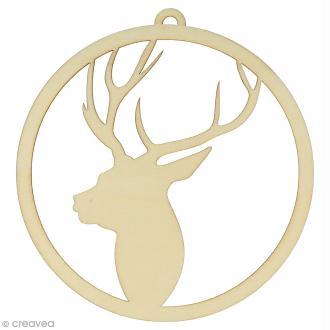 Forme en bois à décorer - Noël Ecossais - Tête de cerf 15 cm - 1 pce