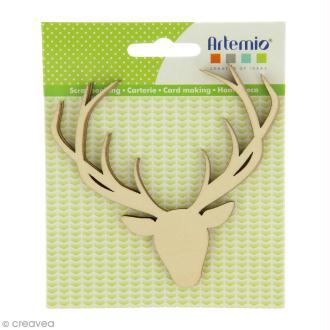 Forme en bois à décorer - Noël Ecossais - Têtes de cerf face 10 cm - 3 pcs