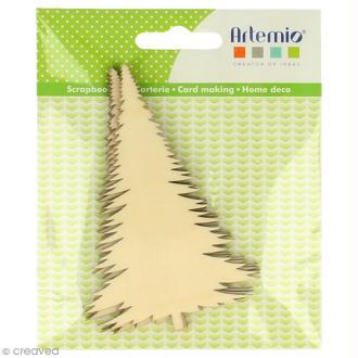 Forme en bois à décorer - Noël Ecossais - Sapins 10 cm - 3 pcs