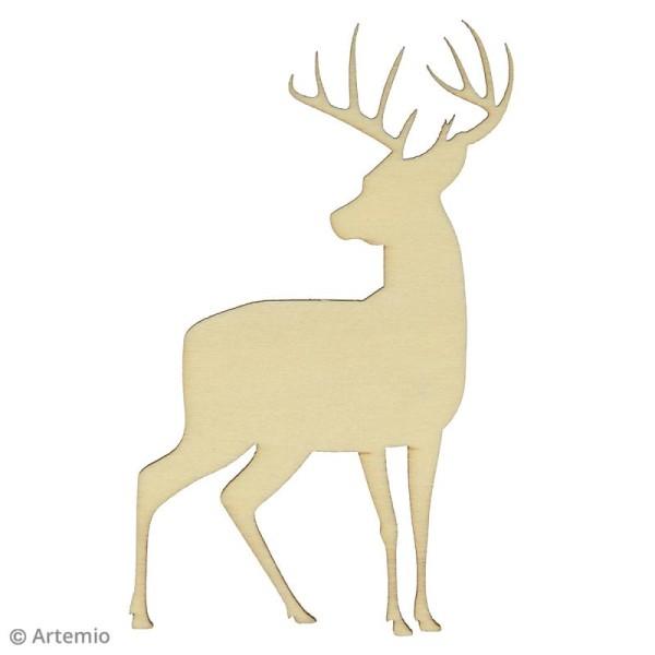 Forme en bois à décorer - Noël Ecossais - Cerfs 10 cm - 3 pcs - Photo n°2