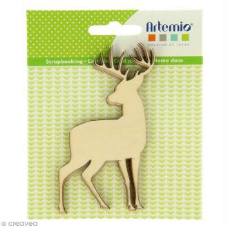Forme en bois à décorer - Noël Ecossais - Cerfs 10 cm - 3 pcs