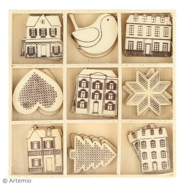Set de mini silhouettes en bois - Noël Home sweet Home - 27 pcs - Photo n°2