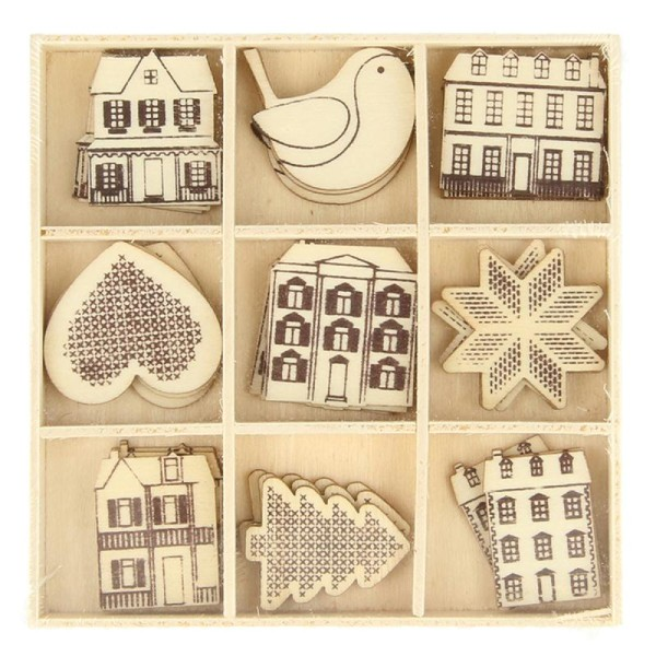 Set de mini silhouettes en bois - Noël Home sweet Home - 27 pcs - Photo n°1