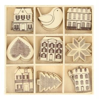 Set de mini silhouettes en bois - Noël Home sweet Home - 27 pcs