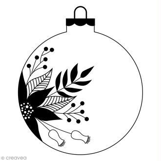 Tampon Bois Artemio - Boule de Noël fleurie - 4,5 x 5,6 cm