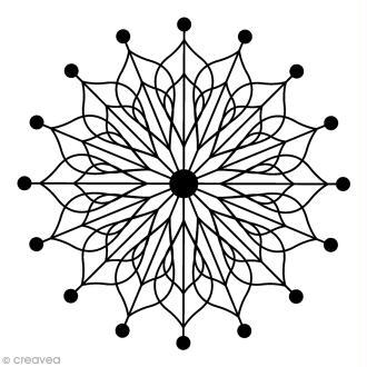 Tampon Bois Artemio - Flocon rosace - 4,5 x 4,5 cm