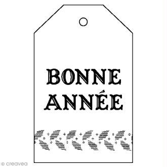 Tampon Bois Artemio - Etiquette Bonne année - 4,5 x 7 cm
