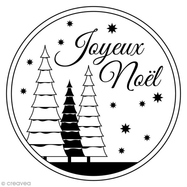 Tampon Bois Artemio - Joyeux Noël - 7,6 x 7,6 cm - Photo n°1