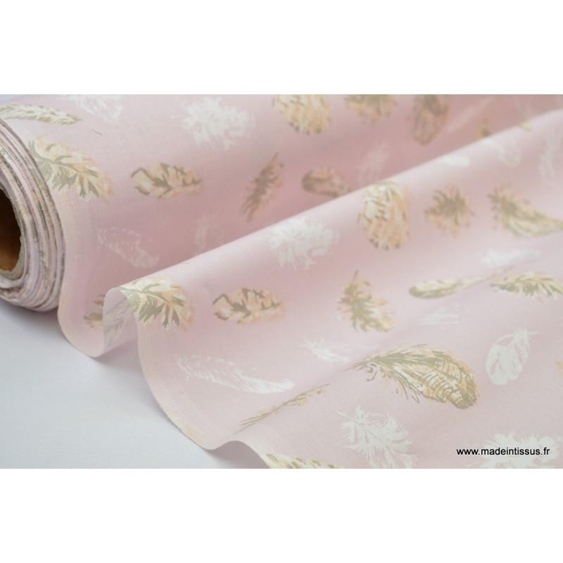 Tissu 100 Coton Dessin Grosses Plumes Sur Fond Rose Pale