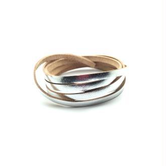 Lacet cuir plat 5mm argent - Europe - 1 mètre