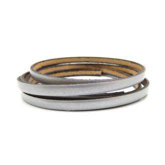 Lacet cuir plat 5mm argent mat - Europe - 1 mètre