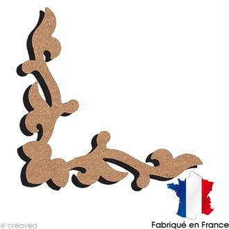 Frise d'angle feuille en bois 13,5 cm