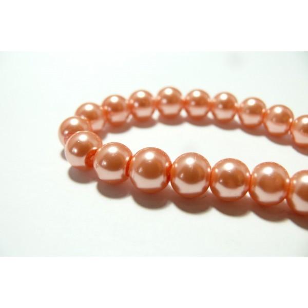 8 mm SAUMON-Rose Perles De Verre Mix-Perles De Verre Boules 70 pièces