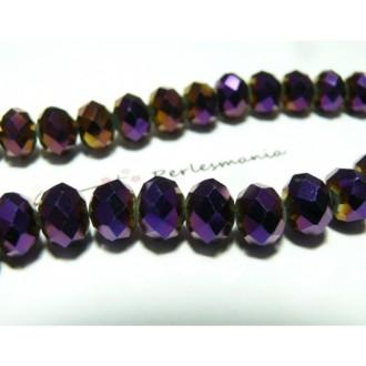 10 Perles facettées rondelles violet 8 par 10mm ref 2J1209