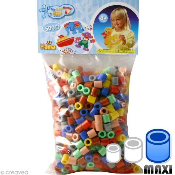 Perles Hama Maxi diam. 1 cm - Assort. 7 couleurs x 500 - Photo n°1
