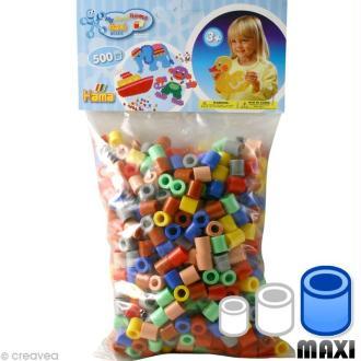 Perles Hama Maxi diam. 1 cm - Assort. 7 couleurs x 500